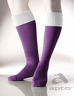 Football/rugby socks contrast top design cushioned foot purple/black all sizes
