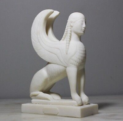 Sphinx Ancient Greek Egyptian Antiquity Statue Reproduction Alabaster Handmade