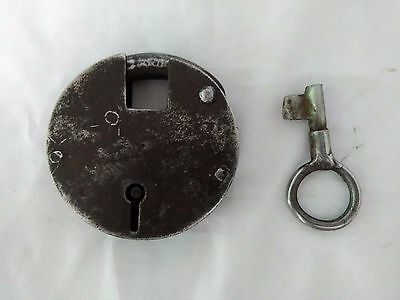 Vintage old Handcrafted rotund shape unique iron padlock & 1 key collectible