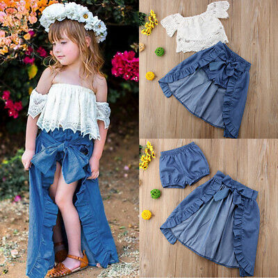 Fashion Girl Baby Kid Lace Off-shoulder T-shirt Top Pants Dress Party Outfits AU