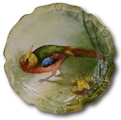 French Limoges Hand Painted Pheasant Porcelain Decorative Wall Plate Signed