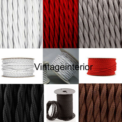 Twisted-Silk Braided Vintage Fabric Coloured Lighting Cable Flex 3 core 0.75mm