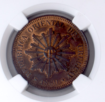1869 H Uruguay 2 Centesimos Ngc Ms 63 Red Brown Pop.3 Km12 1 Yr Type