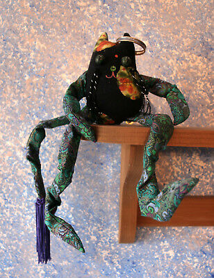 OOAK Handcrafted funky paisley fabric cat shelf sitter with poseable legs & tail