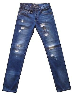 Women's Philipp Plein Jeans 28 Pants Donna Slim Blu Denim Skull Teschi Destroyed