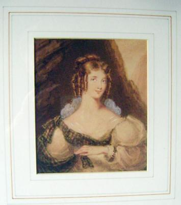 Small Portrait Mary Ann Caton Attributed To Joseph Panomini W/Col Early 19Thc