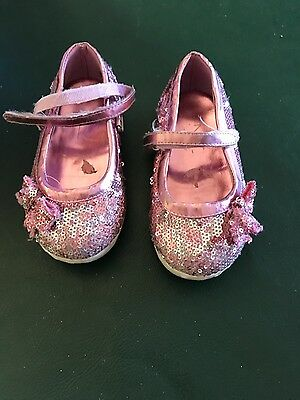 girls pink glittery Enzo shoes- size 8