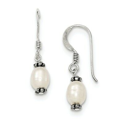 Sterling Silver White FW Cultured Pearl Antiqued Bead Dangle Ear
