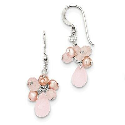 Sterling Silver Rose Quartz/Pink FW Cultured Pearl Earrings