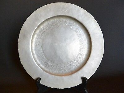 Arts & Crafts White Copper Hammered and Etched Tray Charger Plate; Harnsworth