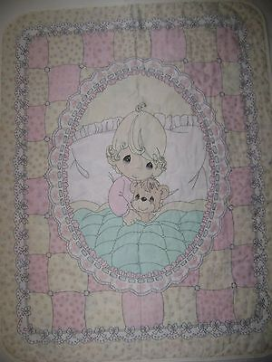 Vintage Precious Moments Finished Pre-Quilted Crib Quilt Girl w/ Teddy Bear
