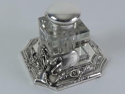 (ref165EO AB) Wonderful antique silver plated fox hunting ink well
