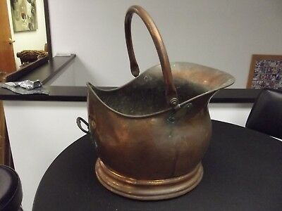 Antique Copper Coal Bucket Large Handmade, Hand Hammered