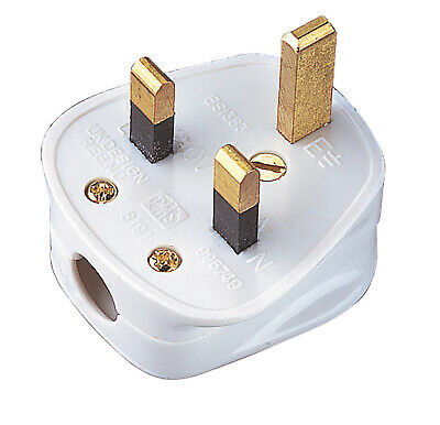 UK 5 amp 5a square pin fused plug BS1363 in black or white