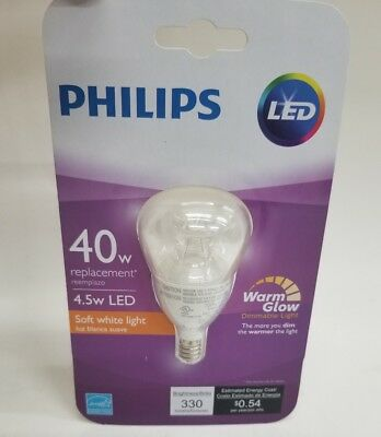 Philips Dimmable Candelabra LED Light Bulb  40w 4.5w watt Soft White NEW