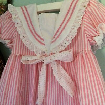 Adorable vintage seersucker pink striped sailor romper ruffles and lace