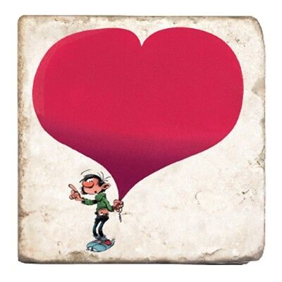 Plaque de marbre de collection Gaston Lagaffe au grand coeur (10x10cm)