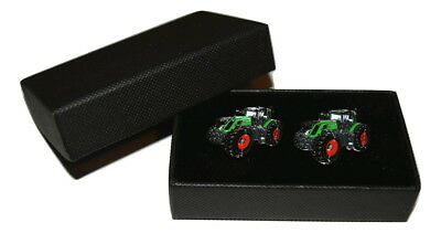 Fendt 939 Tractor Cufflinks GIFT Boxed Enamel Farming Green Mens Accessory