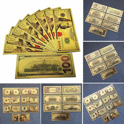 7 PCs/Set Banknotes Ancient Collection Dollars Antique Gold Plated Decoration