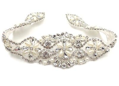 Stunning Bridal Belt Wedding Dress Sash Belt Diamante Applique Beaded