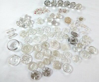 Antique Vintage Clear Glass Buttons Large Lot Ball Toggle Hand Painted