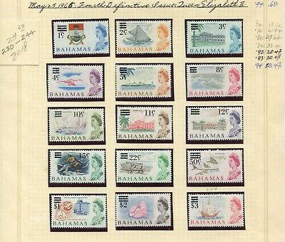 Weeda Bahamas 230-244 VF MNH 1966 Fourth QEII Definitive Issue CV $24.65