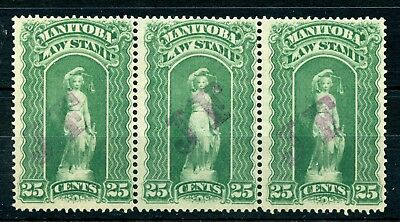 Weeda Manitoba ML96 Unused strip, 25c 1892 JF Law revenue stamps CV $75
