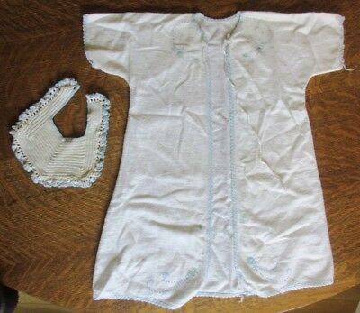 Vintage White Flannel Blue Embroidery Infant/Doll Gown Crochet Trim