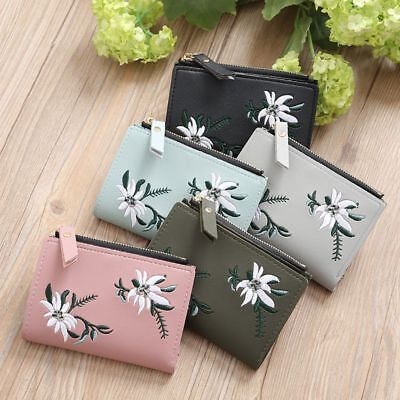 Bifold Cash Simple Flower Short Coin Purse Print Photo Clutch PU Pocket Wallet