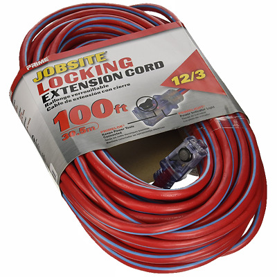 Prime Wire & Cable KCPL507835 12/3 SJTW Locking Cord, Red and Blue, 100-Feet