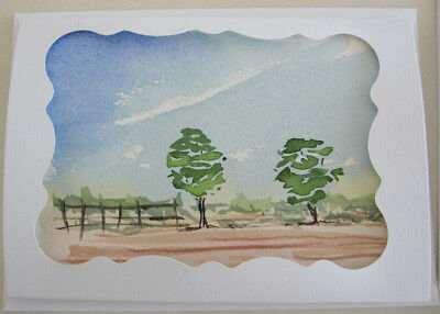 WATERColour FENCES outback LANDSCAPE blues BROWNS art HAND painted CARD DIY tree