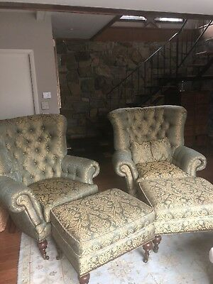 Pair of Queen Anne Style Floral Wingback Chairs w/ 2 Ottomans