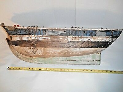 Antique Hand Crafted Large Wood Model Sailing Ship for Restoration