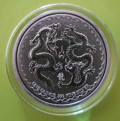 Silver 2018 NIUE DOUBLE DRAGON $2 COIN - PEARL OF WISDOM -  NZ Mint
