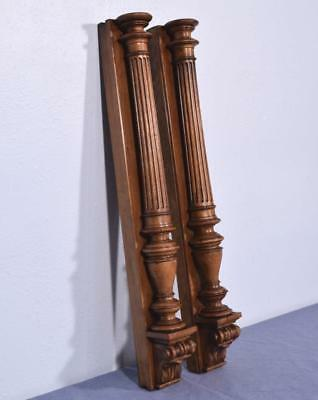 "26"" Pair of French Antique Solid Walnut Posts/Pillars/Columns with Pedestals"