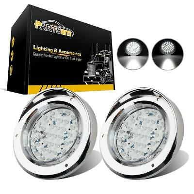 """2x40 LED 4"""" Round Stop Tail Turn Reverse Light Clear/White w/Chrome Bezels Cover"""