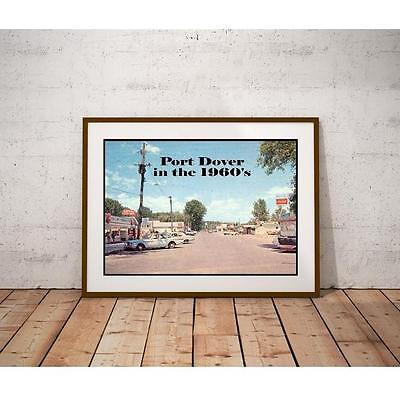 Port Dover in the 1960's Poster - Lake Erie Beach Town Store Fronts Vintage Cars