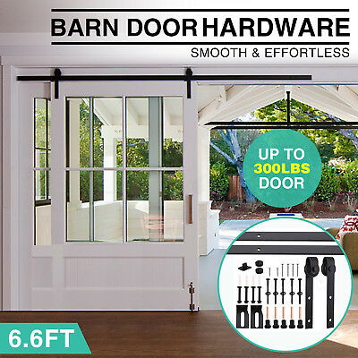 6FT 6.6FT Antique Country Steel Sliding Barn Wood Door Closet Hardware Track Set
