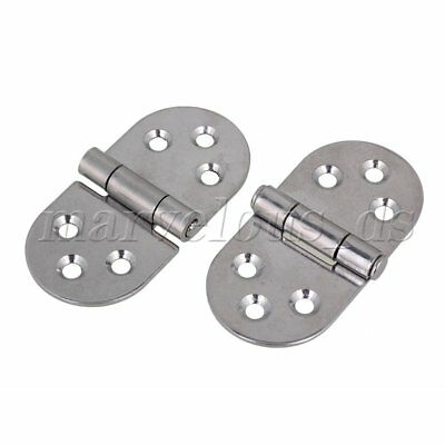 2pcs 304 Stainless Steel Hinge for Door Kitchen Cabinet w/ 6 Holes 80x40mm