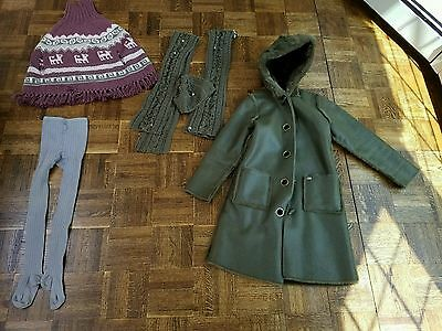 Lot Of Lili Gaufrette Accessories And Matching Coat 2 Scarfs, Hat,tights,poncho