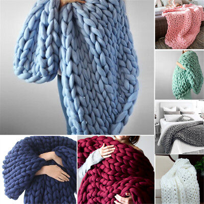 Large Soft Warm Hand Chunky Knit Blanket Thick Yarn Wool Bulky Bed Knitted Throw