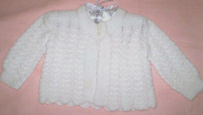Handmade Knitted Baby Jacket in Patons 4ply  baby yarn J405
