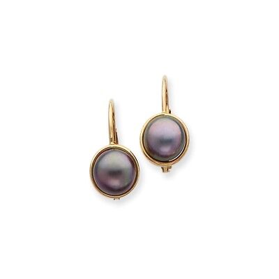 14K 6-7mm Black FW Cultured Button Pearl Leverback Earrings