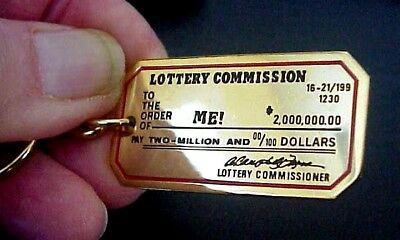 Official Vintage Lottery Commission Lucky Scraper Scratcher Shiny Brass Keychain