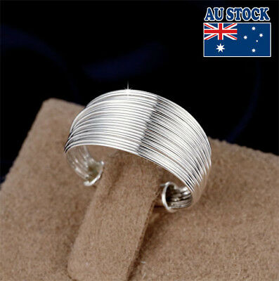 Classic 925 Sterling Silver Filled Adjustable Multi-line Plain Band Ring