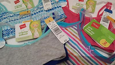 2 Pack of Hanes Girls Teen Crop Top Bralette Pullover Choose Size Color