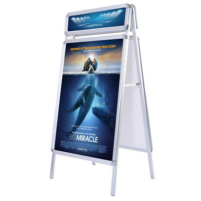 A1 Poster Stand A-Board Pavement Sign Display Alu Snap Frame With Header