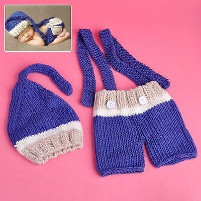 Photography Photo Prop Knit Crochet Cap Hat Pants Shorts Boy Girl Baby Infant