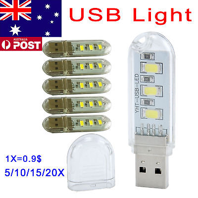 AU USB Lamp Portable Bright 3 LED Night Light for PC Laptop Reading 5/10/15/20X