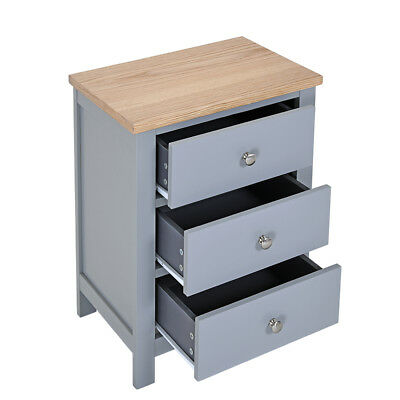 Grey Solid Oak Bedside Table Unit Cabinet Nightstand with 3 Drawers Cupboard UK